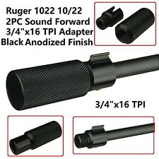 2PC Sound Forwarder 3/4x16 Thread Combo W Muzzle Brake Ruger 1022 Adapter Black