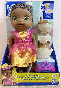 Baby Alive Tea n Sparkles Baby Doll, Color-Changing Tea Set, AA Dark Hair New