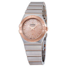 Omega Constellation Pink Mother of Pearl Diamond Dial Steel and 18K Rose Gold