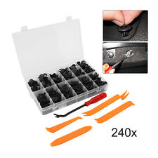 240Pcs Plastic Rivets Fastener Fender Bumper Push Pin Clips With Remover Tool
