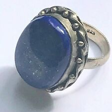 HUGE LAPIS LAZULI STERLING SILVER HALLMARKED 925 BLUE RING