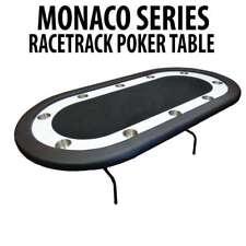 Monaco Series Black Folding Poker Table with White Racetrack