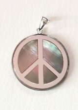 QVC MOP Mother of Pearl Abalone 14k White gold Peace Sign Pendant 4 necklace