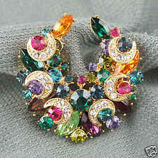 14k Gold GF with Swarovski crystals colourful brooch pin