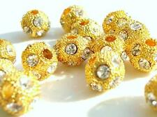 10 Crystal Rhinestone Rondelle Ball Spacer Metal Bead/Golden/Beading Q1-Gold