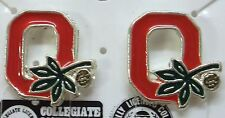 NCAA OSU Ohio State Buckeyes Pierced Earrings with Buckeye Nut, Silver Pl, NEW