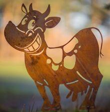 Edelrost lustige Kuh Adelheid auf Stab 60 x 50 cm Gartenstecker Tierfigur Bauern