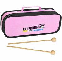 Keepdrum MB01PK Glockenspiel Tasche Pink + MST04 Schlägel 1 Paar