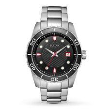 Bulova Men's Quartz Rotating Bezel Black Dial Silver-Tone 44mm Watch 98A195