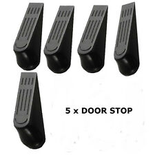 5 X DOOR STOP STOPS STOPPERS WEDGE WEDGES JAM - BLACK
