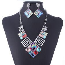 Collar Choker Necklace Jewelry Set Bohemia Cube Crystal Charm Pendant Statement