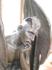 More details for sale solid bronze statue of the devil satan lucifer marble base demon 13 inches