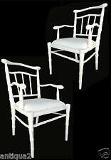 PAIR WHITE LACQUER HOLLYWOOD REGENCY STYLE CARVED FAUX FEMALE BAMBOO ARM CHAIRS