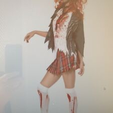 Womens Sexy ZOMBIE WALKING DEAD SCHOOL GIRL Fancy Dress Costume Outfit