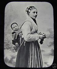 Glass Magic Lantern Slide A YOUNG SWEDISH WOMAN WITH BABY C1890 SWEDEN