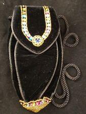 Vintage Lancome Magie Noire Black Beaded Oblong Evening Bag Purse Small