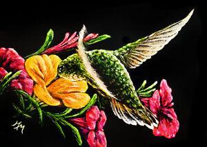 NFAC Bird ACEO Scratchboard Art Painting TINY HUMMINGBIRD Flower Floral Summer