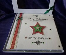 """Large 8"""" Luxury Personalised Christmas Card Gift Box Parents Aunt Uncle Brother"""