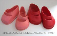 "2 Pr VINTAGE Vinyl Strap Shoes 3"" x 1/2"" Red & Peach 20"" Toni Sweet Sue Nanette"