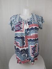 Style & Co Plus Size Mixed-Print Handkerchief-Hem T-Shirt 2X Red-Blue #8200
