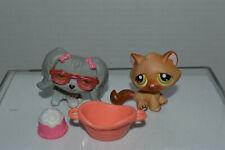 Littlest Pet Shop~#193~Maltese~Puppy Dog~Gray~#194~Kitty Cat~Brown~Accessories