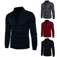 Men Casual Sweater Slim Fit Long Sleeve Knitted Cardigan Trench Coat Jacket Suit