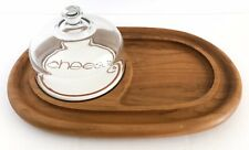 Vtg Teak Cheese Board Serving Tray Appetizer Covered Glass Dome Lid Mid Century