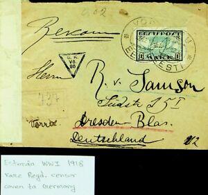 ESTONIA 1918 WWI RARE REGD CENSOR COVER TO DRESDEN GERMANY