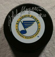 St. Louis Blues Phil Goyette Signed Autographed Hockey Puck Auto