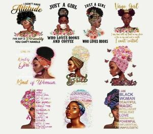 Sticker On Clothes Beautiful African Women Patch Thermal Iron On Vinyl DIY Black