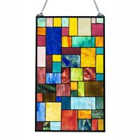 Stained Glass Tiffany Style Window Panel Modern Arts & Crafts Mission Design