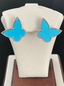 14K White Gold Turquoise Butterfly Earrings (Approx 19x24 MM) (Retail $1,985)