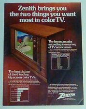 Zenith color tv 1973 VINTAGE magazine print ad