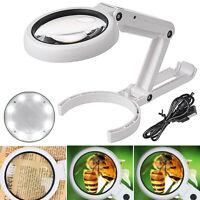 LED Tischlupe mit Ständer 5x und 10x Fach Vergrößerung Leselupe Arbeitslupe Neu