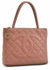 Authentic CHANEL Matelasse Caviar Skin Medallion CC Logo Tote Bag Pink B7073