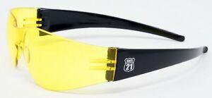 New Yellow Tinted Anti-Fog Wraparound Motorcycle Sunglasses/Biker Wraps + Pouch
