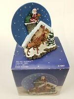 """A Christmas Remembered"" Handcrafted Santa On Chimney Plate w/Stand 1997 Decor"