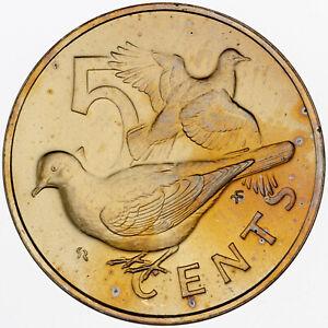 1974 BRITISH VIRGIN ISLANDS 5 CENTS MATTE GOLDEN COLOR GEM TONING UNC BU (DR)