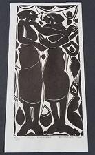 "EZEKIEL MADIBA WOODCUT ""TWO WOMEN"" LISTED SOUTH AFRICAN ARTIST. 6/20"