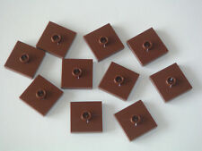 Lego 10 plaques 2x2 tenon central marrons Neuf Reddish Brown plates REF 87580