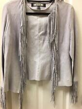 Women's bebe Gray Suede Fringe Short Jacket Size M Coat New