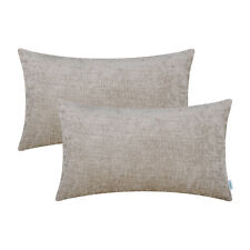2Pcs Light Taupe Bolster Covers Cases Pillows Shells Dyed Chenille Sofa 12 x 20""