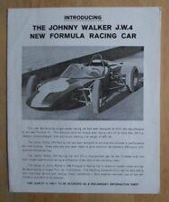 Johnny Walker J.W.4 nuevo coche de carreras de fórmula 1960s Reino Unido Mkt folleto de ventas