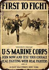 """US Marine Corps First to Fight Vintage Retro Metal Sign 8"""" x 12"""""""