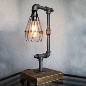 Industrial Retro Desk Table Lamp Steampunk Water Pipe Light Cage Decor Fixtures