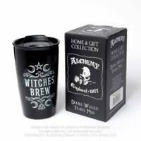 Alchemy Gothic Witches Brew Double Walled Ceramic Travel Mug - Gothic,Goth