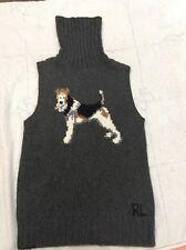 Ralph Lauren Polo Sport Dog Sweater Vest  Cashmere Sillk $295NWOT Motif Women