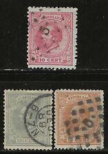 NETHERLANDS Classics...#25-27...1872/88...Used...SCV $9.25
