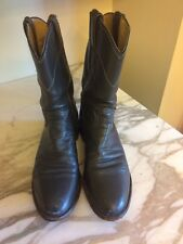 Justin Boots Women Leather Boots, Dark Gray, Low Heels, Size 7