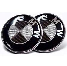 Par de arranque Bonnet insignia de BMW 82mm y 74mm con el logotipo de emblema de fibra de carbono 1 3 4 5